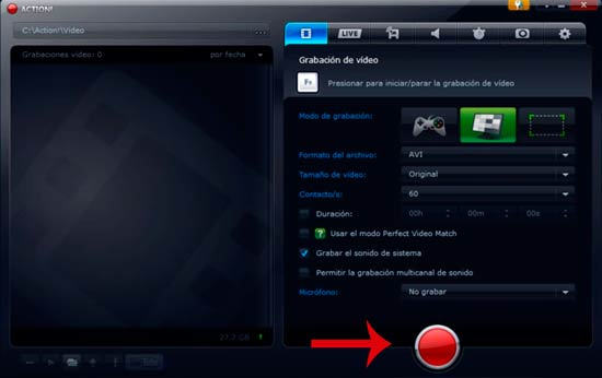 Grabar pantalla Action