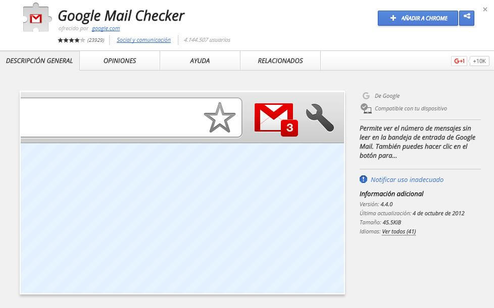 Extensiones Chrome Google Mail