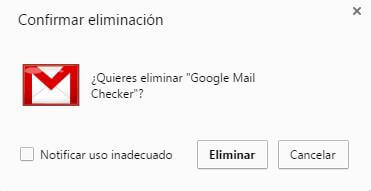 Extensiones Chrome confirmar eliminar