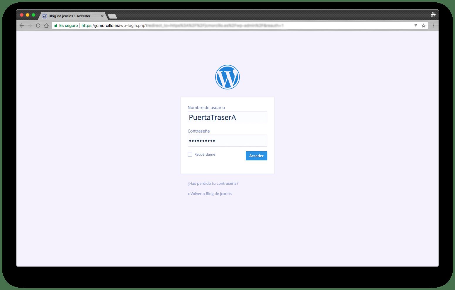Crear puerta trasera en WordPress facilmente_login