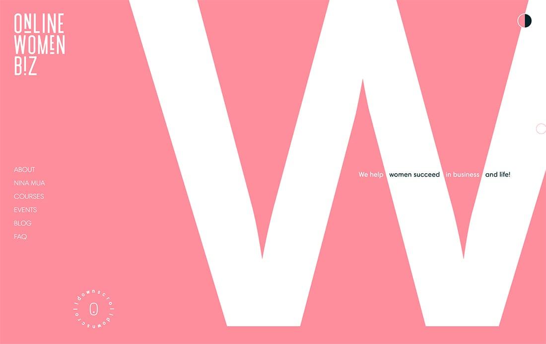 Tipografía atrevida 3 ejemplo de Tendencia en diseño web moderno para 2020